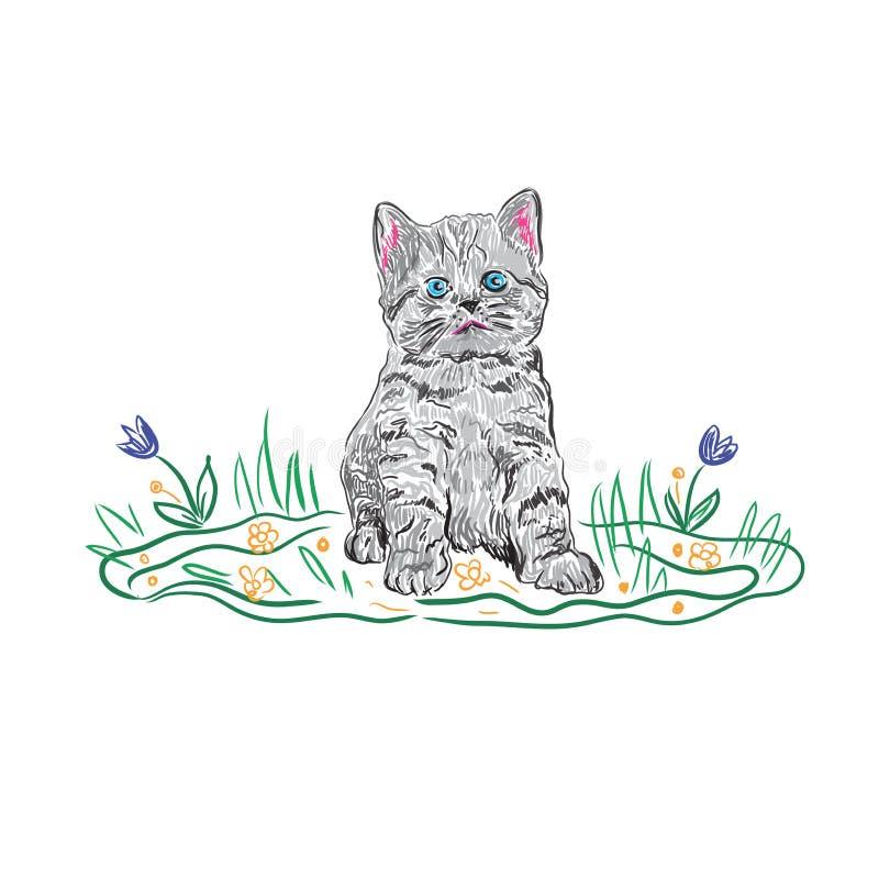 Figlarka kot w nakreślenie stylu ilustracja wektor