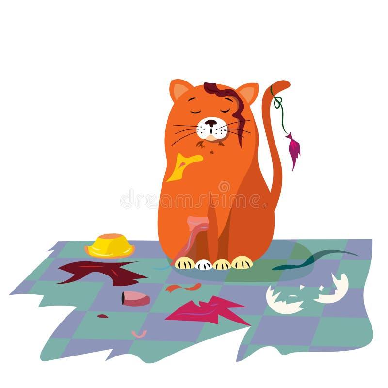 Figlarnie figlarka w pokoju z wiązką śmieci ilustracja wektor