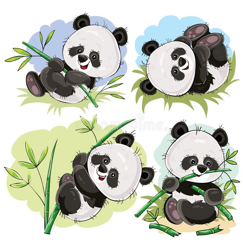 Figlarnie panda niedźwiedzia dziecko z bambusowym kreskówka wektorem ilustracji