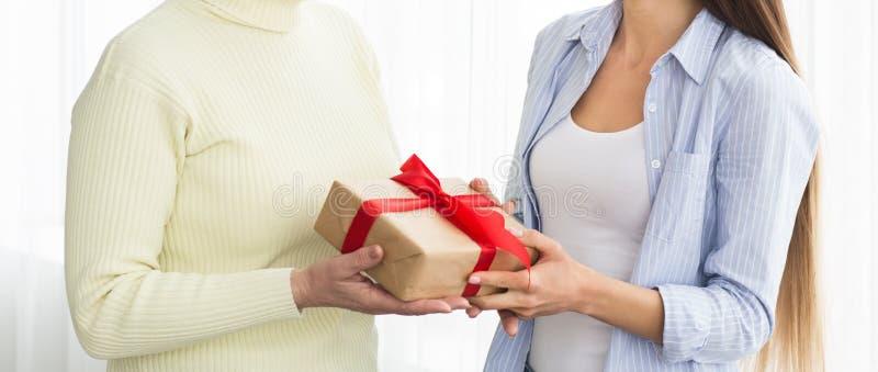 Figlia che dà il contenitore di regalo alla madre senior, il raccolto immagini stock libere da diritti