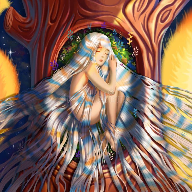 Figlia del ` s dell'albero, figlia del ` s della foresta illustrazione vettoriale