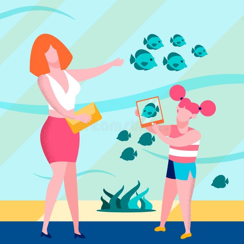 Figlia della madre nell'insegna piana gigante di Aquariumin illustrazione di stock