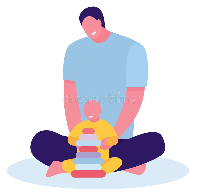 Figlio del bambino e del papà che gioca sul pavimento a casa Concetto di giovane padre inesperto Illustrazione piana del fumetto royalty illustrazione gratis