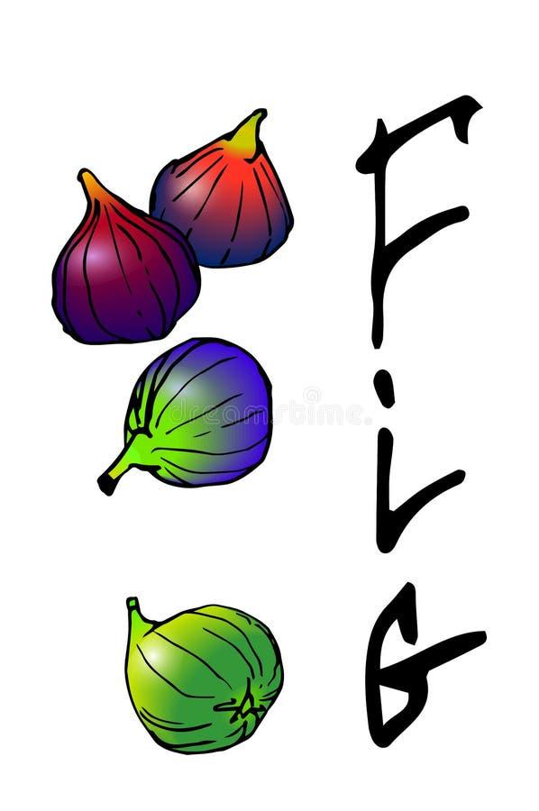 Figos de fruta com a inscrição ilustração royalty free