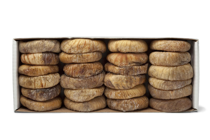 Figos secados em uma caixa fotografia de stock