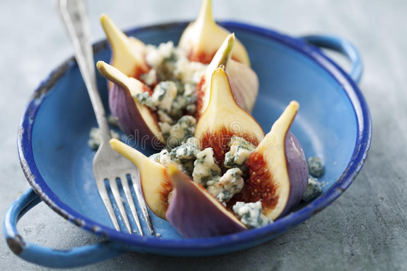 Figs and blue cheese royalty free stock photo