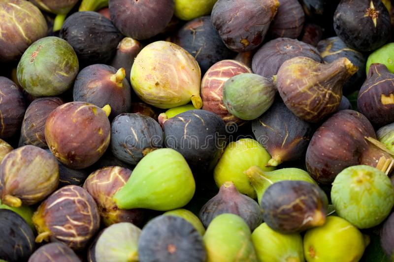 Figs close up in market. Figs in a market place. Natural fruit royalty free stock photo