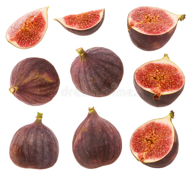 Free Figs Isolated. Whole Fresh Ripe Berry Or Fruit, Half Fig And  Cut Slice Set Isolated On  White Background With Clipping Path As Stock Images - 154194454