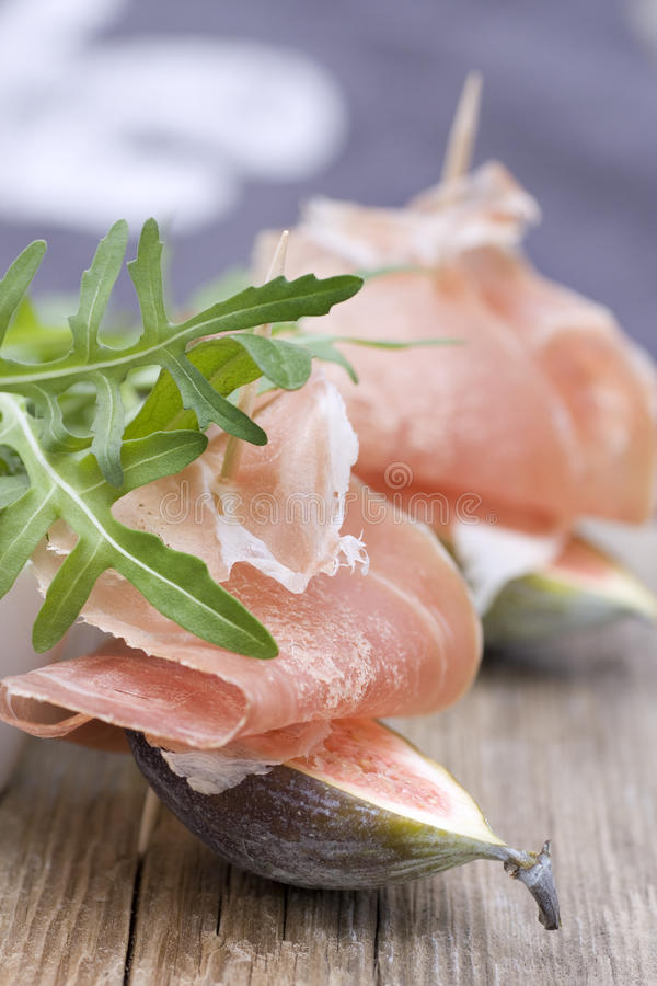 Download Figs With Parma Ham And Rocket Stock Photo - Image of freshness, selective: 13708280