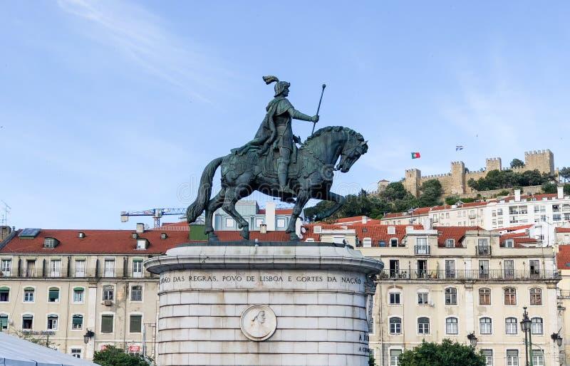 Figueira广场纪念碑在里斯本里斯本,葡萄牙 库存照片