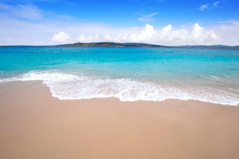 Figueiras nudist beach in Islas Cies island of Vigo royalty free stock photography