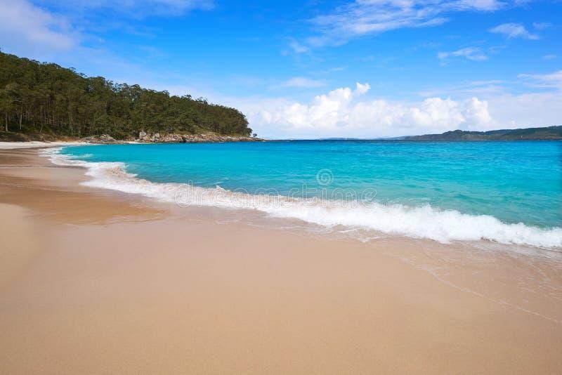 Figueiras nudist beach in Islas Cies island of Vigo royalty free stock image
