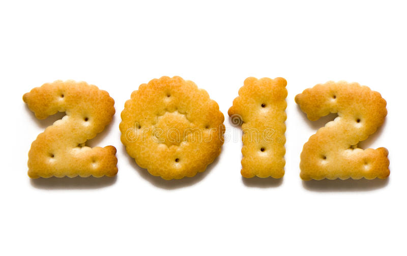 Figur 2012. Appetizing cracker in the shape of 2012 royalty free stock photo