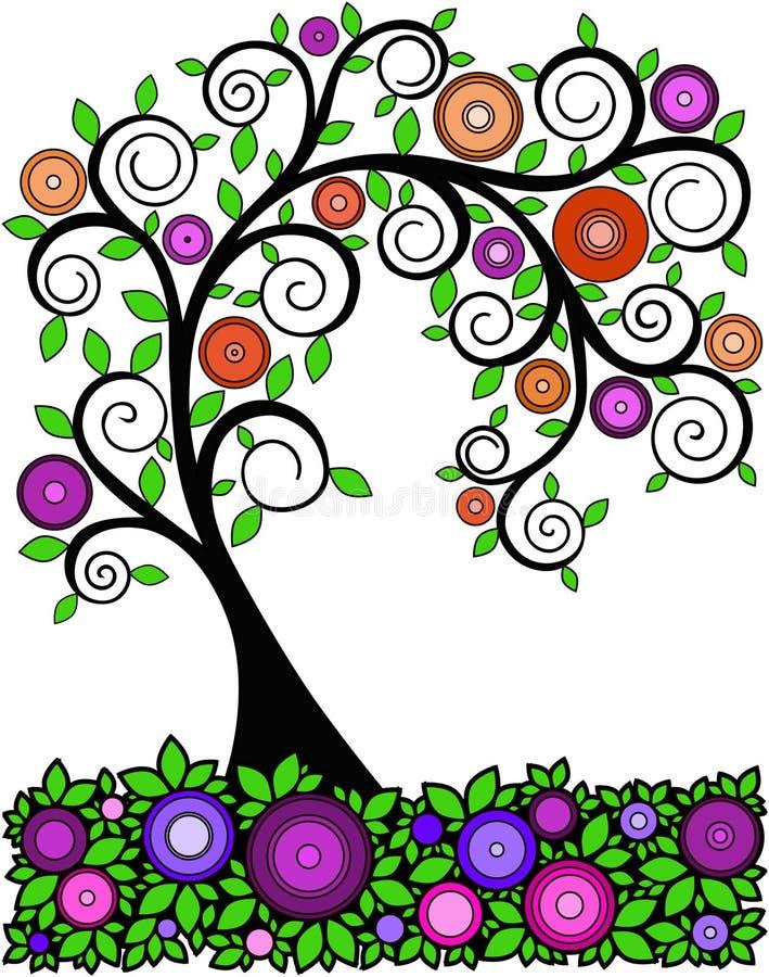 Figura árvore com as flores estilizados sob a forma dos círculos, vetor ilustração royalty free