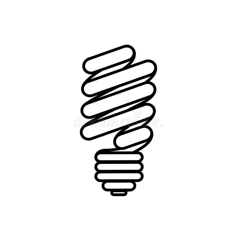 figura ícone do bulbo do eco da etiqueta ilustração stock