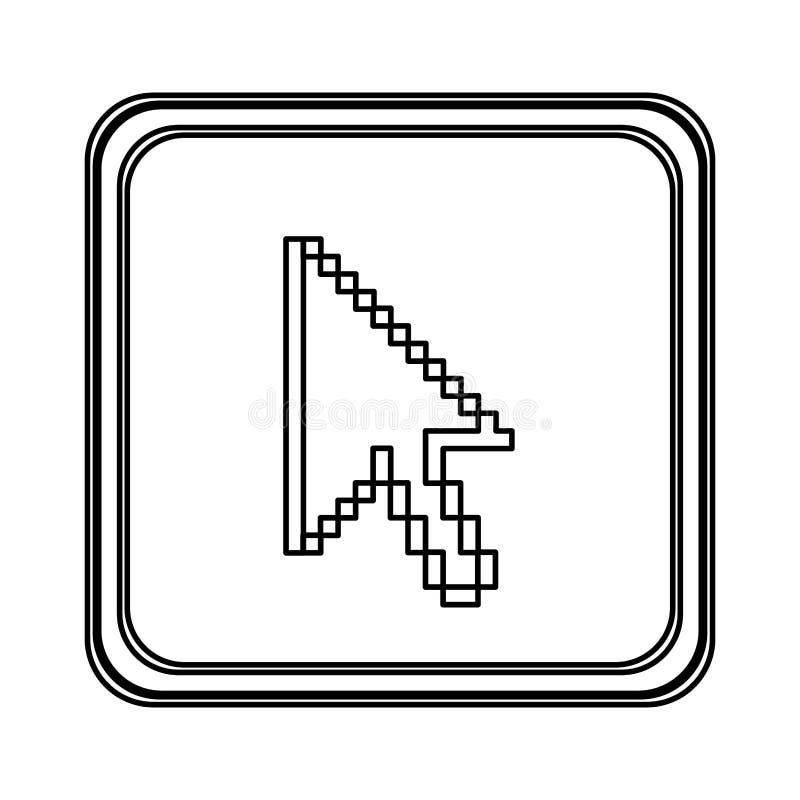 figura ícone do cursor do rato do emblema ilustração royalty free