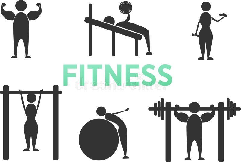 Figura ícones da vara de treinamento da aptidão do exercício do exercício do corpo do pictograma Homem e mulher fotografia de stock royalty free