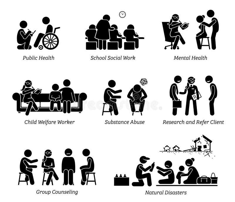 Figura ícones da vara dos assistentes sociais do pictograma ilustração stock