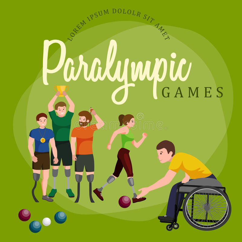 Figura ícones da vara dos jogos de Paralympic do esporte da desvantagem da inutilização do pictograma ilustração royalty free