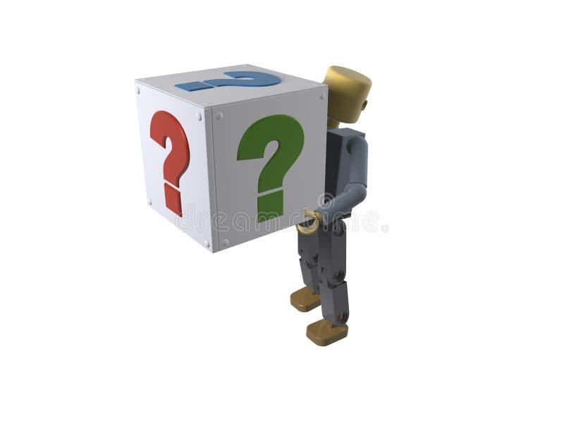 figura 3D que carreg uma caixa com ponto de interrogação ilustração do vetor