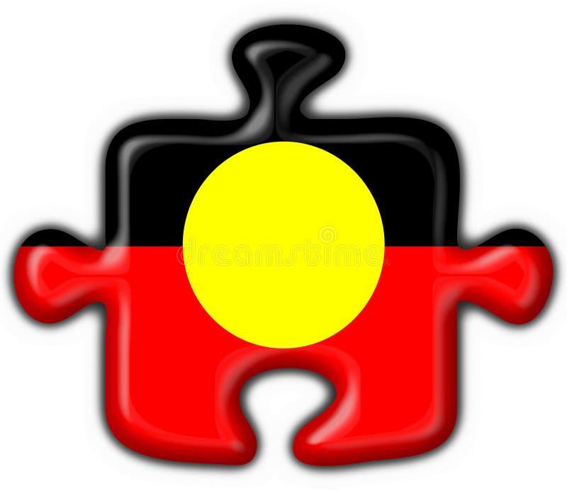 Figura aborigena australiana di puzzle della bandierina del tasto illustrazione di stock