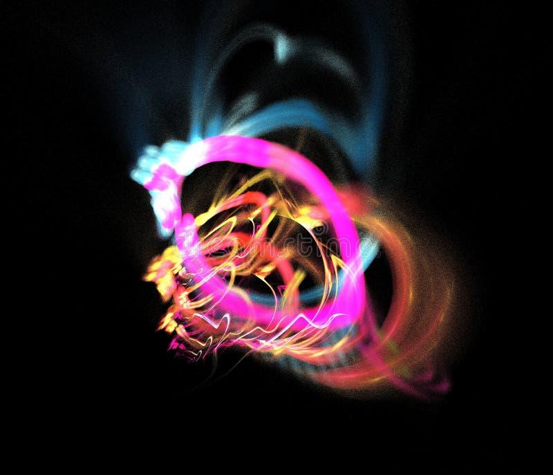 Figura abstracta composición de las líneas de intersección del color en un fondo negro, fractal, para las cubiertas, discos, pági imagen de archivo