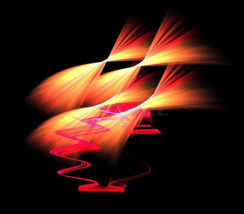 Figura abstracta composición de las líneas de intersección del color en un fondo negro, fractal, para las cubiertas, discos, pági foto de archivo libre de regalías
