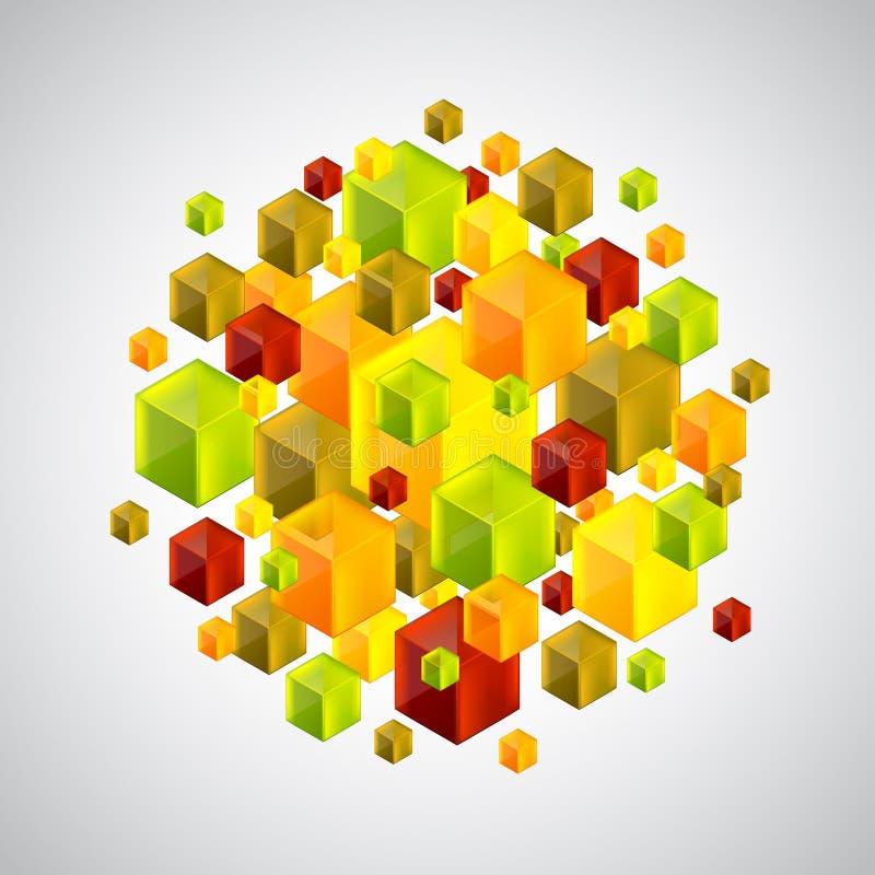 Figura abstracta de muchos cubos coloridos 3d libre illustration