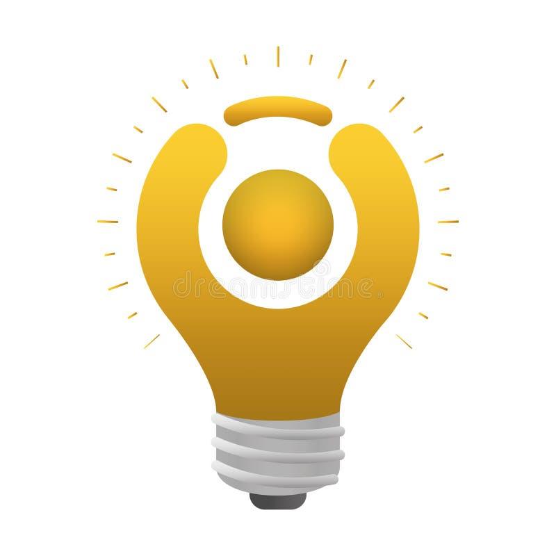 Figura abstrata ser humano da luz de bulbo ilustração royalty free