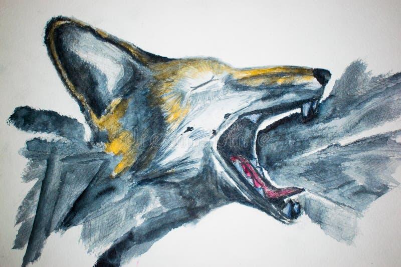 Figura acuarela de griterío del bosque ejemplo del Fox malvado libre illustration