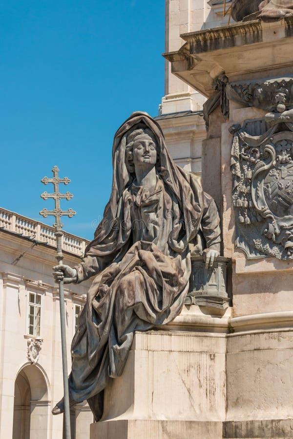 Figura allegorica della chiesa, parte della colonna mariana a Domplat fotografia stock libera da diritti