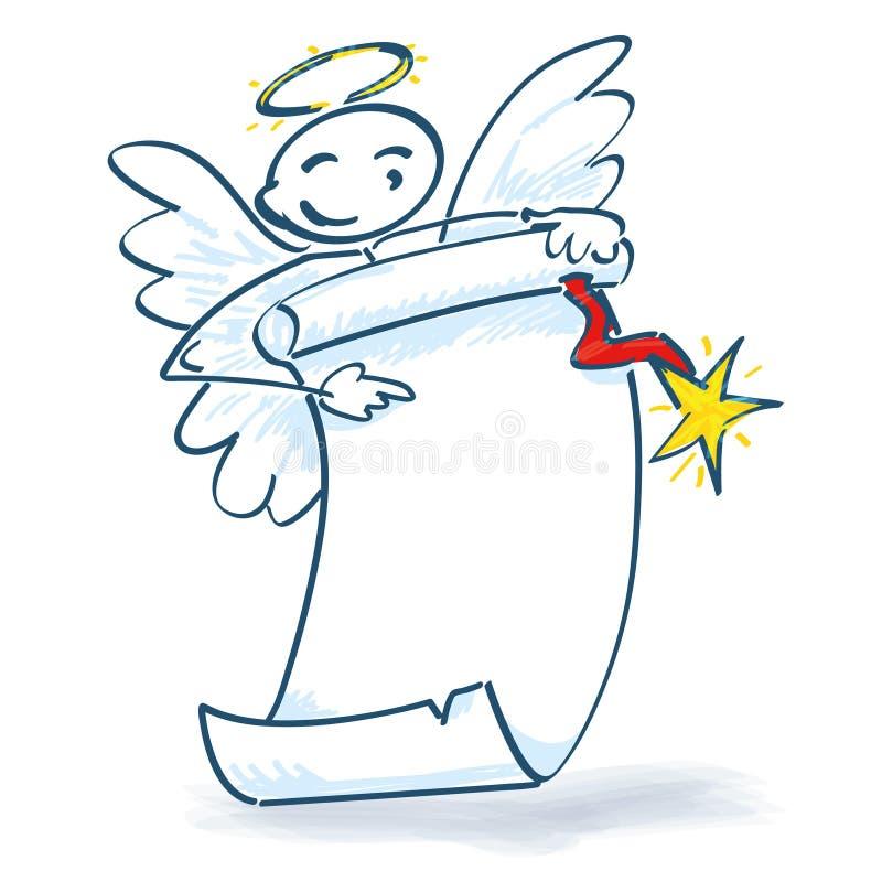 Figura angelo del bastone con rotolo di carta illustrazione di stock