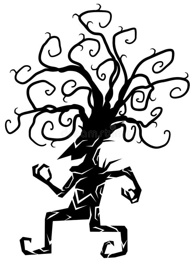 Figura animador desenhos animados da árvore da silhueta ilustração do vetor