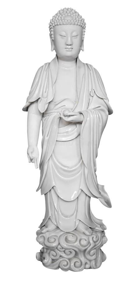 Figura antiga da porcelana de um deus chinês imagens de stock