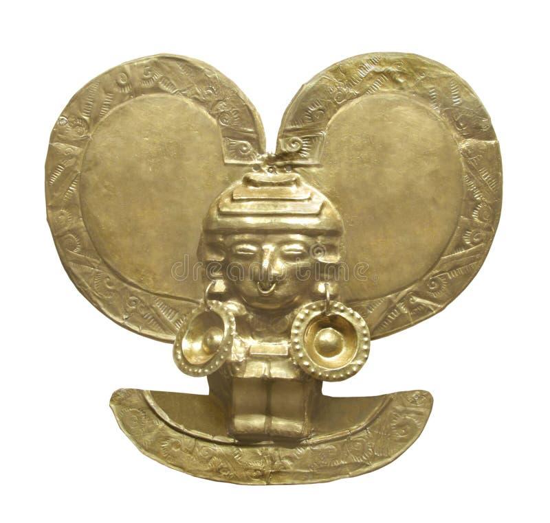 Figura asteca antiga do ouro isolada. imagem de stock