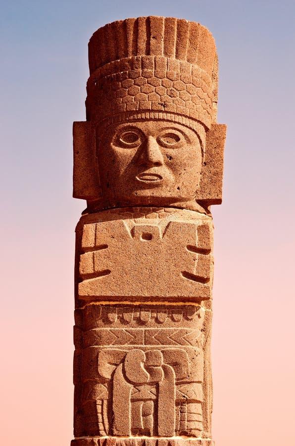 Figura Atlantean em Tula méxico imagens de stock