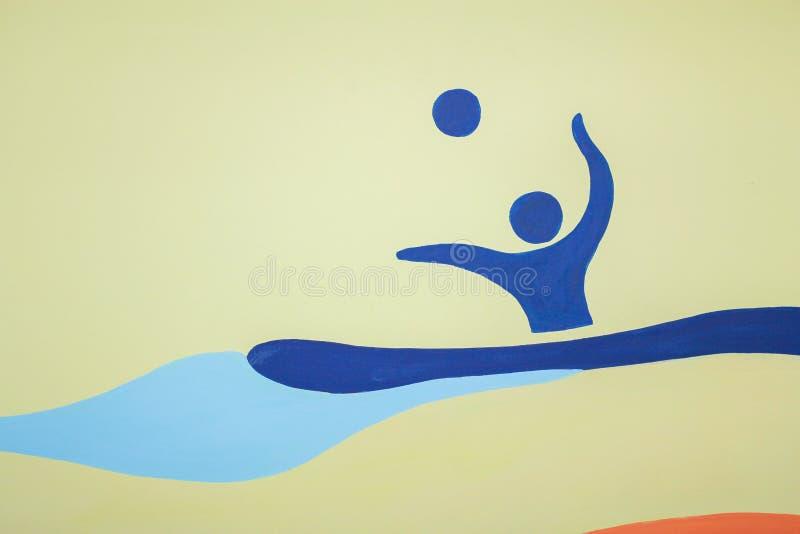 Figura azul del hombre que nada con una bola fotos de archivo