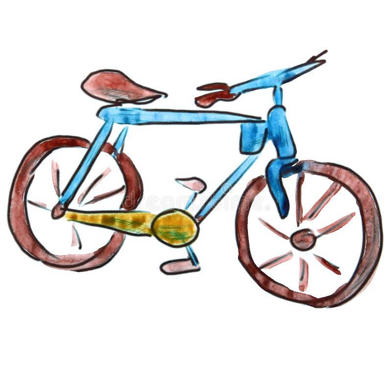 Figura azul dos desenhos animados da bicicleta da aquarela, isolada sobre ilustração stock