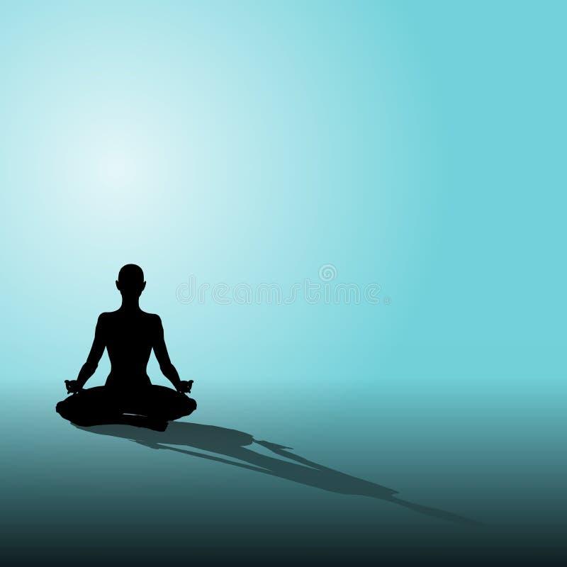 Figura azzurro di yoga di posizione seduta illustrazione di stock