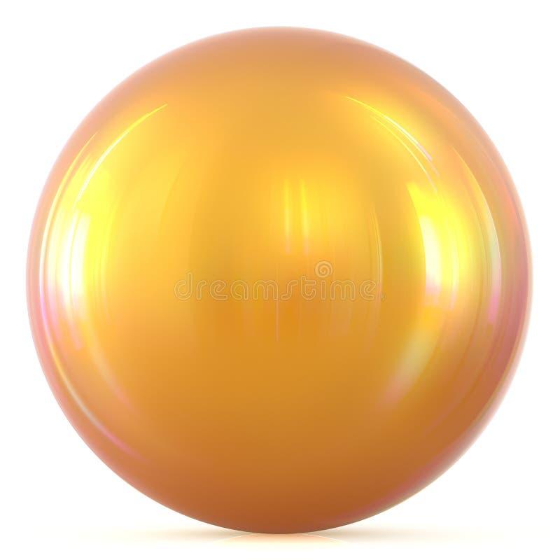Figura básica del círculo del botón redondo amarillo soleado de oro de la esfera de la bola libre illustration