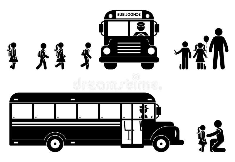 Figura bambini del bastone che si imbarcano sull'icona del bus Di nuovo al simbolo dei ragazzi e delle ragazze di scuola illustrazione di stock