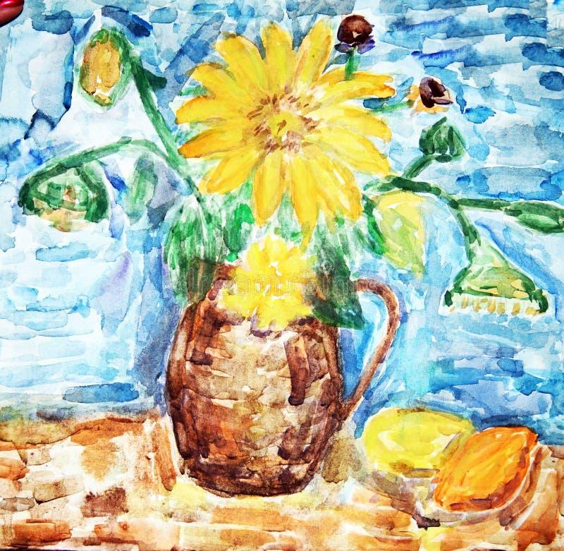 Figura bambini/dissipare/colore di acqua. illustrazione di stock