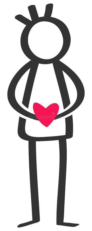 Figura in bianco e nero semplice uomo del bastone che tiene cuore rosso, singolo, datare, isolata su fondo bianco royalty illustrazione gratis