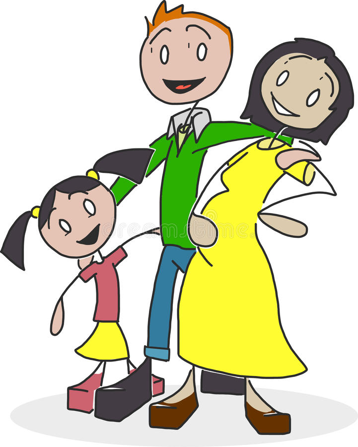 Figura biraziale famiglia del bastone fotografie stock
