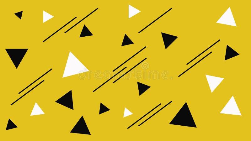 Figura blanco y negro geométrica estructura Contexto negro abstracto de los tri?ngulos Fondo amarillo libre illustration