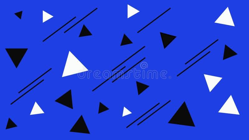 Figura blanco y negro geom?trica estructura Triángulos negros abstractos en el contexto azul Fondo para una tarjeta de la invitac libre illustration