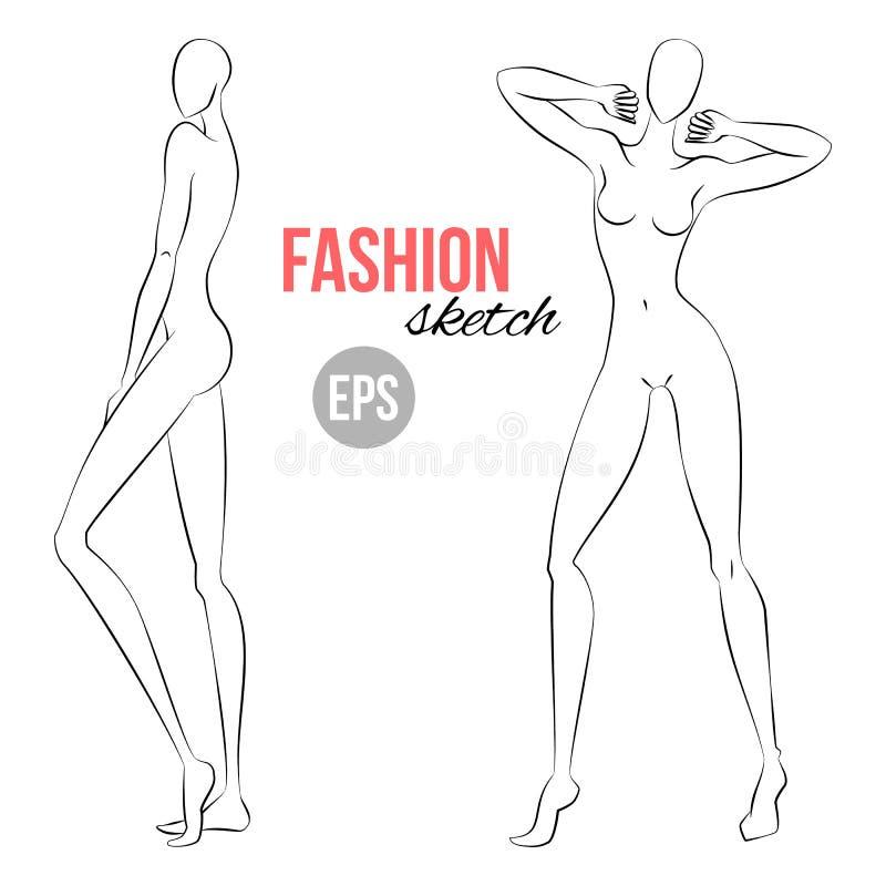 Figura bosquejo del ` s de las mujeres Diversas actitudes Plantilla para dibujar para los diseñadores de la ropa Forme la ilustra stock de ilustración