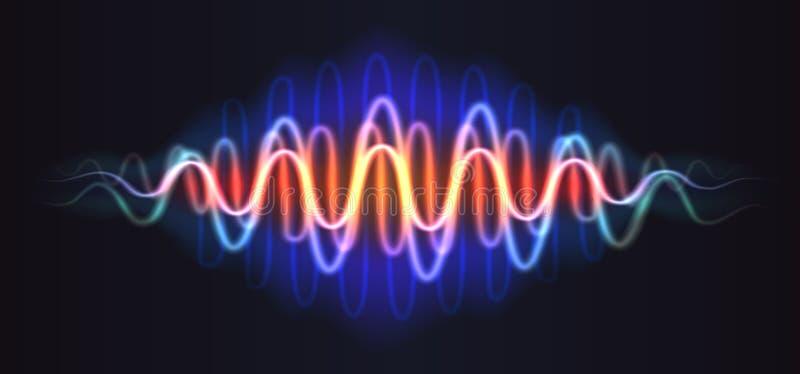 Figura brilhante do sumário de néon da onda com linhas ADN da música ilustração stock