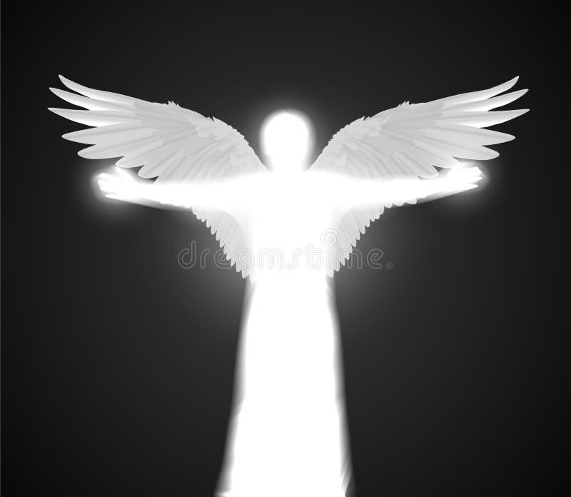 Figura brillante bianca di angelo di vettore con le ali e le mani di diffusione su fondo scuro illustrazione di stock
