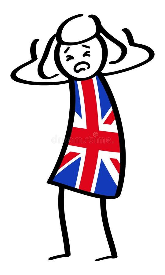Figura británica desesperada mujer del palillo que lleva la camisa de Union Jack libre illustration